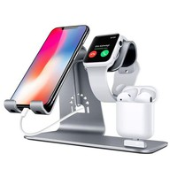 GK4S2 Bestand Bestand-HO6-Grey 3 in 1 Apple iWatch Stand, Airpods Charger Dock, Phone Desktop Tablet Holder for Airpods, Apple Watch/ iPhone X/8 Plus/8/7 Plus/ iPad,Space Grey(Patenting, Airpods Charging Case NOT Included )