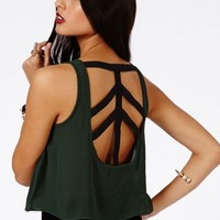 Missguided - Lilbeth Strappy Chiffon Crop Top In Deep Green