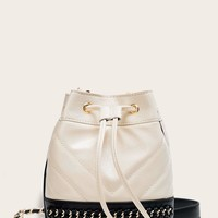 Chevron Detail Bucket Bag With Drawstring