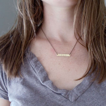 personalized bar necklace // hand stamped brass jewelry