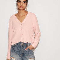 Double V Button Front Shirt