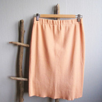 Pencil skirt woman peach stretchy vintage skirt pastel peach 90's clothing