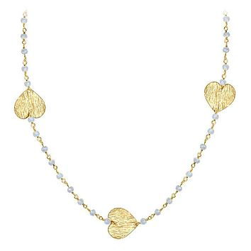 """CHG-201-RM-18"""" 18K Gold Overlay Necklace With Rainbow Moonstone"""