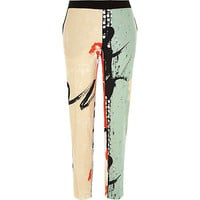 River Island Womens Green paint splash cigarette pants