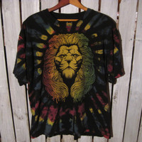 Cool Lion Tie Dyed T-Shirt, Size XL. Upcycled Clothing