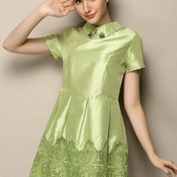 Beads Embroidered Pointed Flat Collar Short Sleeve Mesh A-Line Pleated Mini Dress
