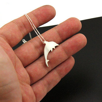 Sterling Silver Dolphin Necklace Jumping Dolphin Fish Pendant charm necklace  with 925 Sterling Silver Chain