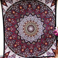 Red Psychedelic Star Mandala Elephant Tapestry Wall Hanging Dorm Bedspread Home Decor