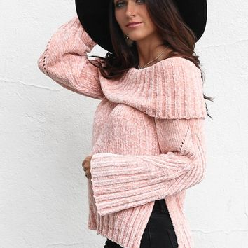 Good Morning Chenille Blush Off Shoulder Sweater