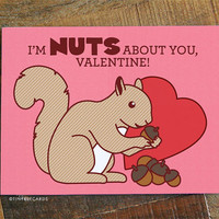 """Cute Valentine Card """"Nuts About You"""" - squirrel pun card, valentine's day card, for significant other, boyfriend girlfriend husband wife"""