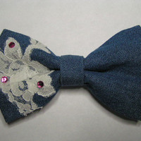 Denim with lace hair bow for women, teens and kids, Big hair bow, Fabric Hair Bow, Hair Clip