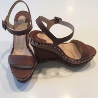 PEAP Christian Louboutin Brown Platform Espadrille Wedge Sandals