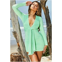 fhotwinter19 Women's fashion pleated lace-up V-neck sexy hip-wrapped dress