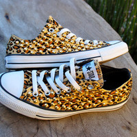 Leopard Cheetah Studded Converse All Star Sneakers - Converse Tennis Shoes with Gold Studs