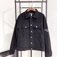 Dior Pattern Letter Print Edgy Casual Cool All-match Long Sleeve Solid Color Lapel Denim Jacket