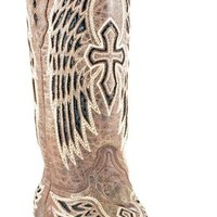 Corral Boots Women's Wing & Cross Cutout Brown Leather Cowgirl Boots | Women's Boots
