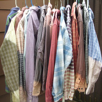 Mystery Oversized Shirt - Ombre Shirt, Bleached Shirt, Grunge Shirt, Hipster Clothing, Boyfriend Shirt, Plaid Shirt, Acid Wash, Indie Shirt