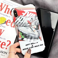 NIKE & Off White Fashion New Letter Arrow Print Women Men Phone Case Protective Cover White