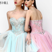 Strapless Rhinestone Corset Prom Minidress By Sherri Hill 21156