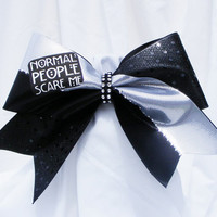 Cheer bow- American Horror Story - Normal people scare me - black, white and black sequins with sliver rhinestuds and a rhinstone center