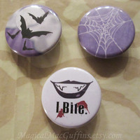 Gothic Spooky Purple Black White Pastel Goth Halloween Bats Spider Web Love Vampire Button Set