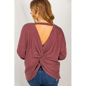 Twist Connection Burgundy Open Back Top