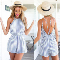 2016 Summer Style Rompers Womens Striped Jumpsuit Sexy Sleeveless Chiffon Playsuits Ladies Casual Solid Overalls Plus Size