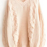 Pink Cable Knit V Neck Sweater