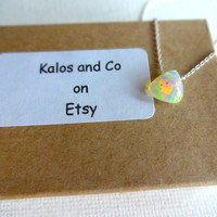 Natural Micro Ethiopian Welo Opal Floating Stone Pendant & 14k Rose Gold Fill 925 Sterling Silver Chain Necklace; Rough Opal Unique Gift