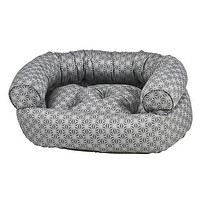 Micro Jacquard Double Donut Bolstered Dog Bed — Mercury