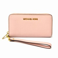 Authentic Michael Kors Leather Long Wallet Purse Round Zip Pink Gold Women