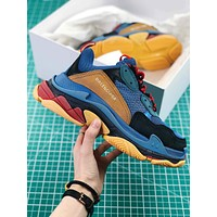 Balenciaga Triple S Trainers Sneaker Blue Oversized Multimaterial Sneakers With Quilted Effect