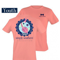 Simply Southern YOUTH Flamingo Tee - Coral