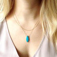 Turquoise Howlite Marquis Necklace