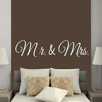 Wall Decor Vinyl Decal Sticker Wife Husband Family Words Mr and Mrs Bedroom Living Room Home Interior Design Kg787