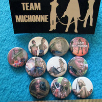 10pc 1 inch TEAM MICHONNE Pinback Buttons badges flair zombies samurai sword chained walkers pets