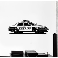 Vinyl Wall Decal Police Car Cop Sheriff Garage Boys Room Stickers Mural (g1858)