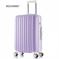 "24 inch New surface like sandpaper stripes trolley suitcase/ 20"" boarding luggage/10Colors universal wheels trolley candy"