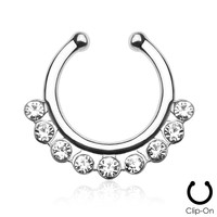 Cynthia Clear Gem Clip On Septum