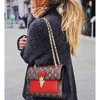 Louis Vuitton LV fashion lady Dionysus printed patchwork color shoulder bag shopping bag  Coffee print+Red