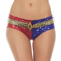 Cool Harley Quinn Sequins Underwear Shorts Lined Pants Suicide Squad Cosplay Costume UNDERWEARAT_93_12