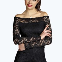 Bella Bardot Style All Over Lace Playsuit