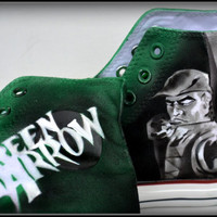 "Painted Mens Shoes, Painted Shoes, ""Cupid"" Shoes, Painted Converse, Mens Converse, Green Arrow,Cupid, Custom Sneakers, Oliver Quinn"