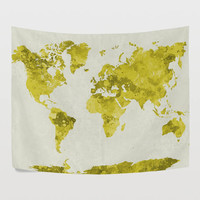 Beautiful Gold Watercolor World Map Tapestry Shine Yellow Abstract Wall Hanging Art for Living Room Bedroom Dorm Decor