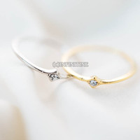 small mini diamond shape cz ring,bridesmaid ring,wedding and engagement ring,knuckle ring,upper knuckle ring,midi ring,mid knuckle,RN2571