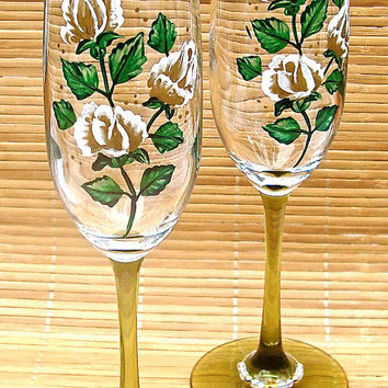 Painted Champagne Glasses With Gold Roses And Wine Charms, Golden Anniversary Glasses, Wedding Glasses