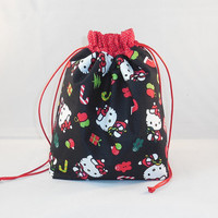 Fabric Drawstring Gift Bag Made With Hello Kitty Inspired Fabric