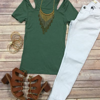 Ribbed Cold Shoulder Top: Sage