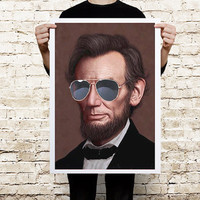 Abraham Lincoln Sunglasses Color Art Print by CoolPoster on Etsy