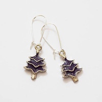 Cute Purple and Silver Tone Christmas Tree Design Drop Earrings